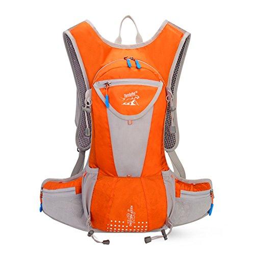 Eleoption Fahrrad Rucksäcke 12L Groß Volumen Outdoor Schultasche integriert Nacht Sicherheit Reflektierende Streifen Rucksack für Radsport Jogging Wanderung Skateboard Bergsteigen usw. (Orange)