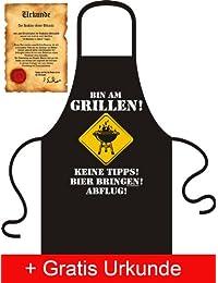 Bedruckte Fun Schürzen mit Gratis Urkunde - Lustige Witzige Motive auf Kochschürzen & Grillschürzen