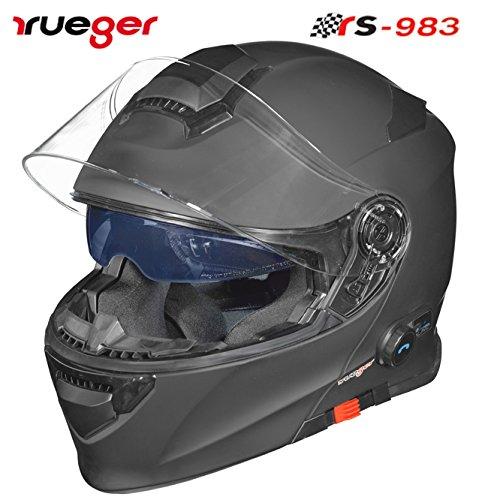 rueger Klapphelm RS-983 COM Matt Schwarz mit Bluetooth und getöntem inneren Klappvisier. Größe XL (61-62)