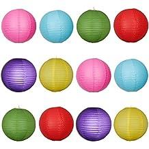 LEORX 12pcs linternas de papel redondo de 8 pulgadas de 6 colores con nervaduras de alambre para la boda la decoración del partido Navidad