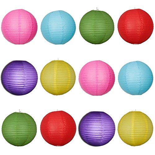 OUNONA Runde Papierlaternen mit Drahtriffeln 6 Farben 16-Zoll 12St