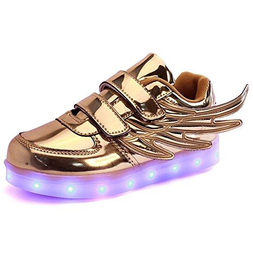 XIANV Sport Kinder Schuhe Kinder blinkt LED Schuhe Freizeit Jungen / Mädchen mit Flügel leuchtende Schuhe Gold