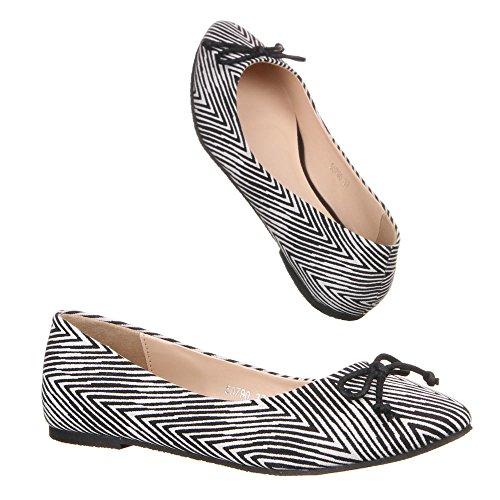 Damen Schuhe, 50790, MODERNE ZWEIFARBIGE SLIPPER BALLERINAS Schwarz Weiß 1