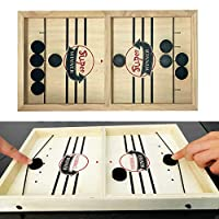 Slingshot Table Hockey Party Game, Bouncing Chess Hockey Game, Table Desktop Battle 2 in 1 Ice Hockey Game, Winner Board Games Toys for Parent-Child (37x24x3.5cm)