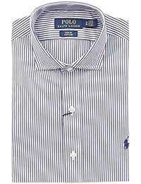 Ralph Lauren Men s 712696047001 White Blue Cotton Shirt 97bdba339505c