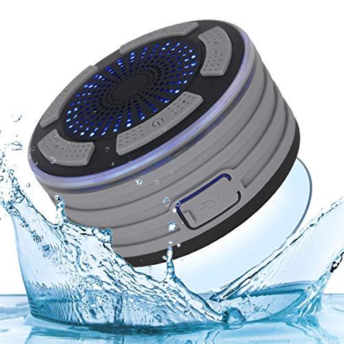 Bluetooth Dusch Lautsprecher Wasserfester Wireless Speaker mit FM Radio Tragbarer Wireless Duschradio Super Bass und LED Beleuchtung Eingebautes Mikrofon für Strand, Pool, Küche & Home
