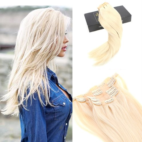 Sunny extension capelli veri clip - full head set 7 pezzi 120gram seamless remy capelli clip umani lisci naturale extensions #60 bionda leggera 22 pollici