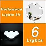 WanEway Hollywood-Stil LED Spiegelleuchte (Schminklicht, Spiegellampe, Schminkleuchte, Make-up Licht, Tageslichtlampe), LED-Licht Schminktisch Spiegel Lichter Set für Kosmetikspiegel mit Dimmfunktion, 6000 Kelvin, Spiegel Nicht Inbegriffen, 6 LED-Lampen