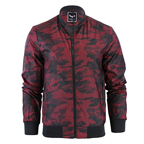D project Herren Mantel rot camouflage