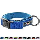 PAWTITAS Weiches, verstellbares, reflektierendes Hundehalsband, Gepolstertes Hundehalsband Groß/Extra Groß Blau