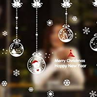 Murale decorativo adesivo/Natale Babbo Natale neve palla ciondolo vetro finestra porta adesivi negozio natale/nuovo anno fiocco parete adesivo di carta
