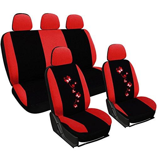 WOLTU AS7250 Set Completo di Coprisedili per Auto Macchina Seat Cover Universali Protezione per Sedile di Poliestere con Ricamo Farfalle Nero+Rosso