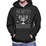 Happy Hanukkah Menorah Knit Men's Hooded Sweatshirt