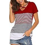 Bellelove,Chemise à rayures pour femmes, Haut à manches courtes pour femmes, T-shirt décontracté à encolure en V épissage T-shirt Casual Blouse T-shirt décontracté été 2018 (UE 36 / Asie M, Rouge)