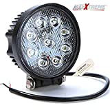 #7: AllExtreme 9 LED 27W Round Fog Light with Mounting Bracket for Car, Motorcycle, SUV, ATV and Outdoor Applications - 4 Inch Flood Beam Auxiliary Waterproof Work Lamp (White, Pack of 1)