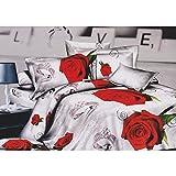 Bettwäsche-Set mit Rosen-/Diamantenring-Design, Weiß und Rot (Bettdecken-Set Kingsize) (Weiß/Rot)