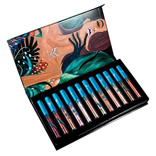 Gazechimp Conjunto de Lápices Labiales Lipstick Líquidos Mate Metálico Duradero Maquillaje Brillo de Labios - 12 Colores