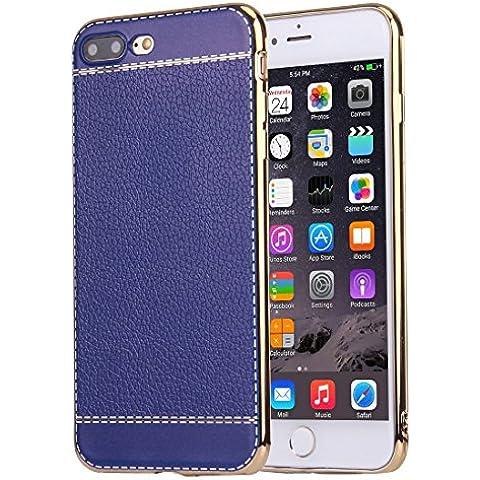 iphone 7 più caso, Krygershield® - di lusso in pelle morbida copertura del gel di cristallo flessibile con paraurti elettrolitico in blu scuro
