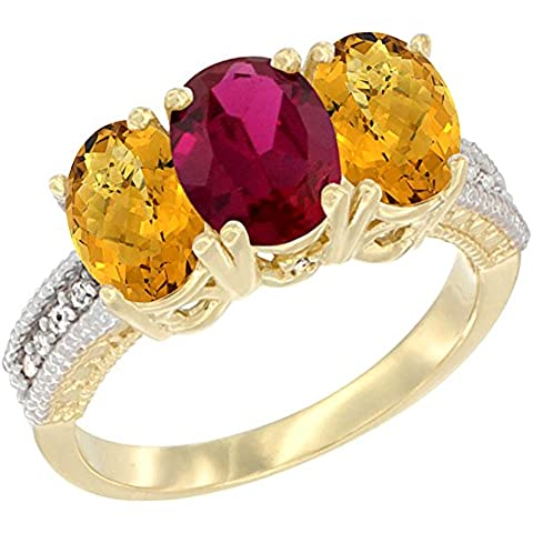 14 K Giallo Oro Enhanced Anello con rubino naturale Whisky Quarzo 3-Stone 7 x 5 mm ovale, accento diamante, misura