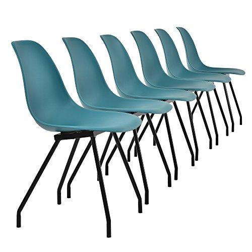 [en.CASA] 6 chaises de Design du Plastique - Pieds stabils en Acier - Turquoise