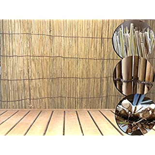 AQS INTERNATIONAL Natural Peeled Fence Reed Screening Garden Decorative Backyard Garden Screen Slate Privacy Fencing 4M Roll (1.5m x 4m (150cmx400cm))