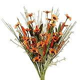 NAHUAA 5 Pz Fiori Artificiali Seta Decorazioni Crisantemi Fiori di Lavanda Arancioni Fiori Finti Secchi Piante Artificiali Ornamenti per Vasi Interno Cimitero Matrimonio Giardino Balcone