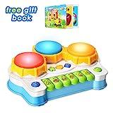 Baby Spielzeug Schlagzeug Klavier spielt Tastatur Kleinkind Musikinstrument,Lernen und Entwicklung Baby-Spielzeug 6 bis 12 Monate Kinder-Spielzeug mit Licht und Musik-Set für Mädchen und Jungen Früherziehung