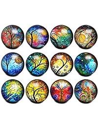 Soleebee 12 Piezas Click-Button Encantos de la Joyería del Botón a Presión de Vidrio de 18 mm (Árbol de la Vida B)