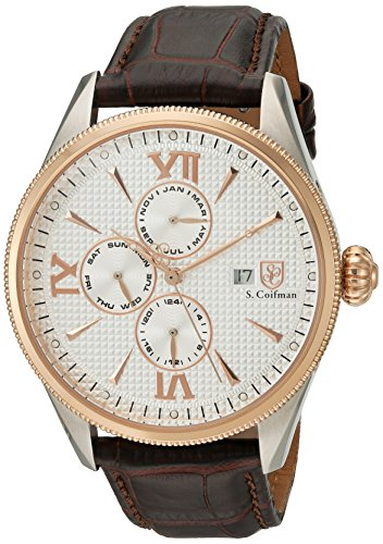 S.Coifman Men's Quartz Watch with White Dial Analogue Display and Black Leather Strap SC0170