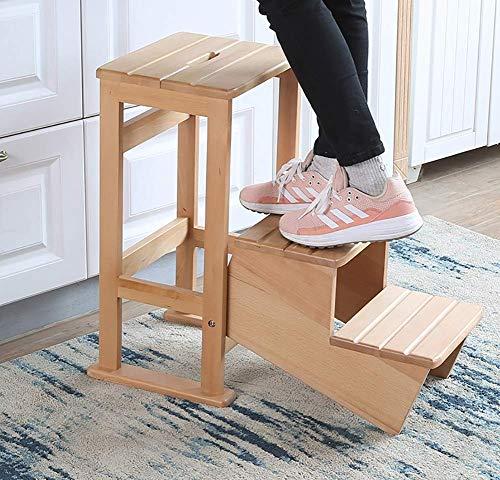 SHLDTZ Kinder/Erwachsene 3 Step Hocker for Küche/Bad/Schlafzimmer/Bibliothek, Heavy Duty Anti-Rutsch-Holz Tritthocker Sitz, tragbar Multifunktion -