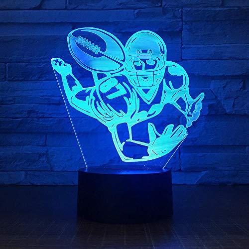 Lampe 3D Illusion LED Nachtlicht Rugby USB-Stromversorgung 7 Farben Blinken Berührungsschalter und Fernbedienung Schlafzimmer Schreibtischlampe für Kinder Weihnachts geschenk