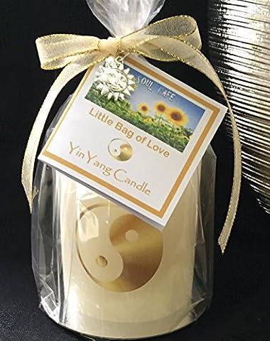 Handmade Yin Yang Candle Gift - Rustic Ivory Pillar Candle - Choice of sizes - Soul Cafe gift tag - Yoga - Meditation -