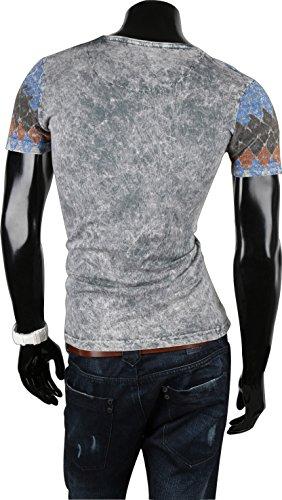 TAZZIO Herren T-Shirt Poloshirt Polo Hemd Slim Fit Pullover Kurzarm Grau