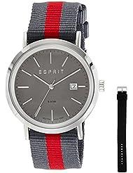 Esprit Herren-Armbanduhr ES-ALAN SILVER Analog Quarz Leder ES108361004