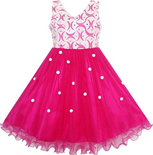 JL25 Sunny Fashion - Vestito floreale, bambina, rosa 7 anni