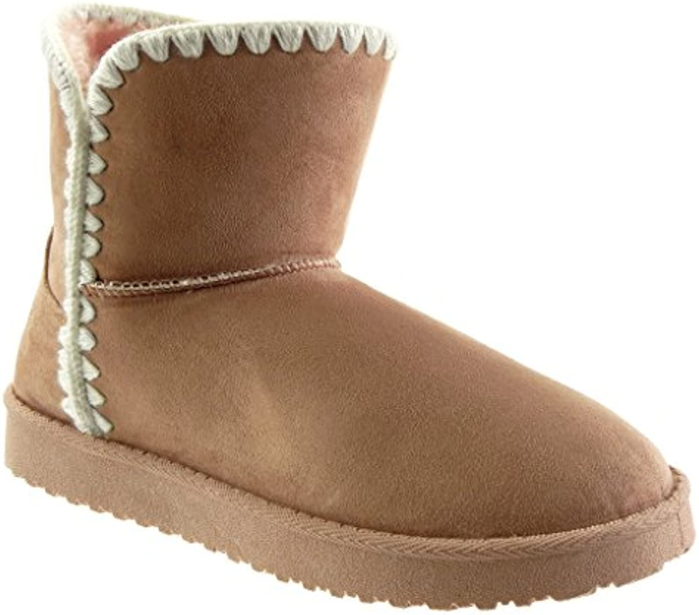 Angkorly - damen Schuhe Stiefeletten - Schneestiefel - häkel flache Ferse 3 CM