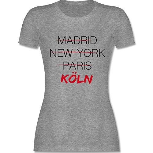 Shirtracer Städte - Weltstadt Köln - Damen T-Shirt Rundhals Grau Meliert