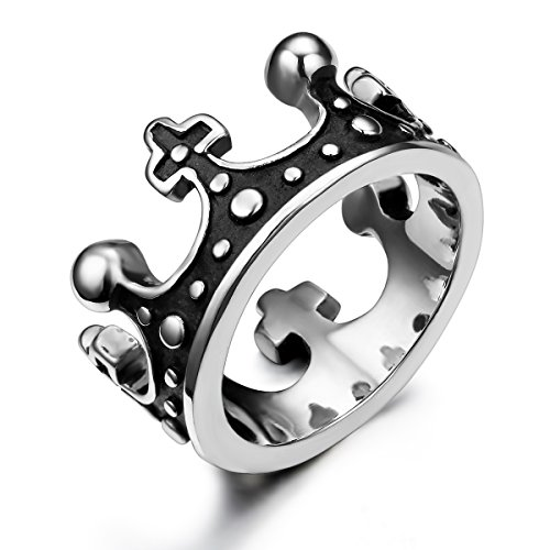 JewelryWe Schmuck Edelstahl Damen Herren Ring, Retro Krone Unisex Band Partnerringe Verlobungsringe Eheringe, Schwarz Silber Größe 57 - mit Geschenk Tüte -
