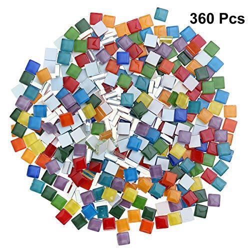 Toyvian Mischfarbe Mosaik Fliesen Mosaik Glas Stücke Platz Kristallglas für DIY Handwerk Mosaikherstellung (360 Stücke / 300g, 1x1 cm)