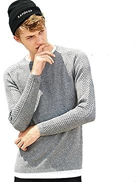 WTUS Crew Knit,Suéter de Nuevo otoño e invierno para Hombre,Gris/Negro