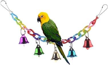 Bunten Ringer Glöckchen Swing Spielzeug für Vogel Papageien Graupapageien, Aras Wellensittiche Sittiche Nymphensittiche Kakadus Sittiche Unzertrennliche Finch Käfig Sitzstange