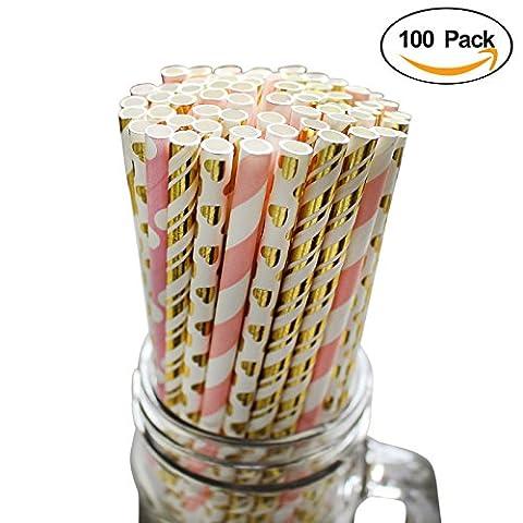 100 Pailles en Papier Boissons Décoration Motifs par Belle Vous