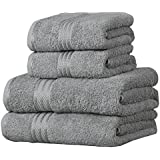 Linens Limited Supreme 100% Egyptian Cotton 500gsm 4 Piece Guest Towel Set, Silver