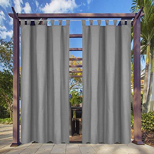 Clothink Outdoor Vorhang - B:132xH:215cm Grau - mit Steckverschluss Easy Hang on - Winddicht Wasserabweisend Sichtschutz Sonnenschutz