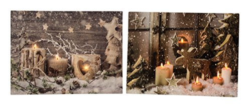 Geschenkestadl LED 2 er Set Wandbild Weihnachten Kerze Elch beleuchtet je 30cm x 40cm Sterne Bild Winter Motive