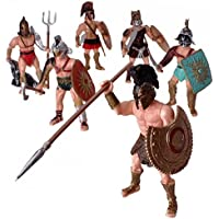 6 piezas Gran Figura de Acción Juguete de Gladiador Romano Antiguo Guerrero Combatiente Figuras de juego con arma o escudo