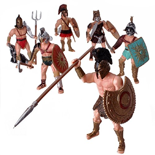 YIJIAOYUN 6 Pieces Great Action Figure Roman Gladiator Toy Ancient Warrior Fighter Game Figures with Weapon or Shield