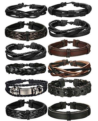 BE STEEL Schmuck 12 Stücke Leder Armbänder für Herren und Damen Armband Geflochten Länge Elastisch