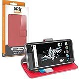 Orzly® - Multi-Functional Wallet Stand Case für OnePlus X SmartPhone / Handy (Dual SIM 2015 Modell - OxygenOS UI Version) - SCHUTZHÜLLE mit integrierte BRIEFTASCHE + STAND mit Magnetischen Deckel - ROT