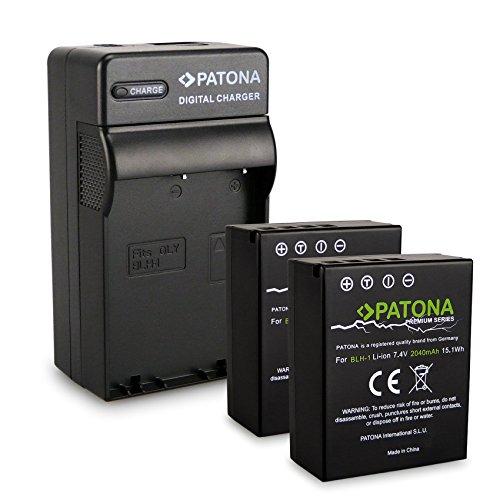 PATONA Chargeur + 2X Premium Batterie BLH-1 pour Olympus EM-1 MARKII. Attention La Partie de décodé (Voir Description du Produit)
